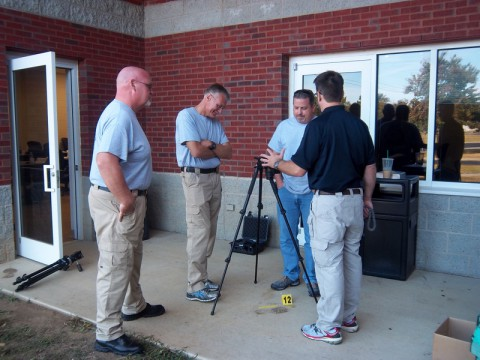 MCSO Sgt. Steve Heise (second from right) learns about crime scenes at the six-week Tennessee Bureau of Investigations State Academy.