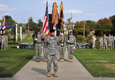 Command Sergeant Major Gregory Nowak assumes responsibility as the 34th command sergeant major of the 101st Airborne Division (Air Assault) during a ceremony held at McAuliffe Hall, Fort Campbell, Kentucky, Oct. 9, 2014.   (Sgt. Joel Salgado, 3rd BCT Public Affairs)