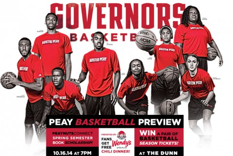Austin Peay State University officially will introduce the 2014-15 squads, 7:00pm, Thursday, October 16th at the Peay Basketball Preview, presented by Wendy's. (APSU Sports Information)
