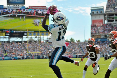 Tennessee Titans wide receiver Kendall Wright (13) catches a touchdown pass against the Cleveland Browns during the first half at LP Field on October 5th, 2014. (Jim Brown-USA TODAY Sports)