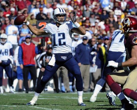 Tennessee Titans quarterback Charlie Whitehurst (12) drops back to pass against the Washington Redskins during the first half at FedEx Field on October 19th, 2014. (Brad Mills-USA TODAY Sports)