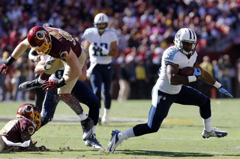 Tennessee Titans running back Bishop Sankey (20) carries the ball past Washington Redskins linebacker Trent Murphy (93) in the second quarter at FedEx Field last Sunday. (Geoff Burke-USA TODAY Sports)