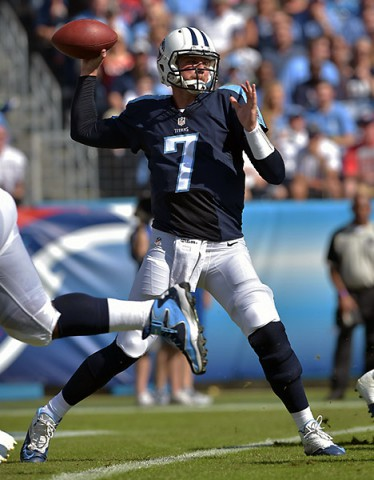 Tennessee Titans quarterback Zach Mettenberger (7) passes against the Houston Texans during the first half at LP Field. (Don McPeak-USA TODAY Sports)