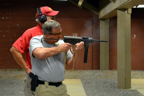Heise spends some time on the gun range for the TBI State Academy.