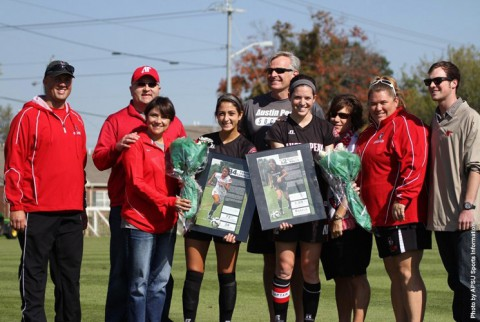 Austin Peay Women's Soccer honors seniors Frankie Carbajal (left) and Claire Pultz (right) during on-field pregame ceremony Sunday. (APSU Sports Information)