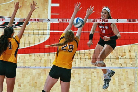 Junior Samantha Strother had 15 kills in Austin Peay's win over Tennessee Tech. (APSU Sports Information)