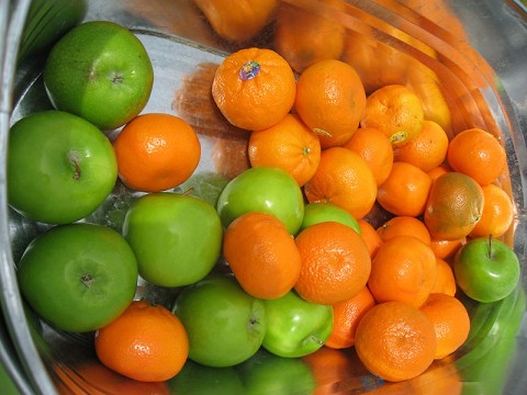 Offer healthy snacks this Halloween like Apples and Oranges. (American Heart Association)