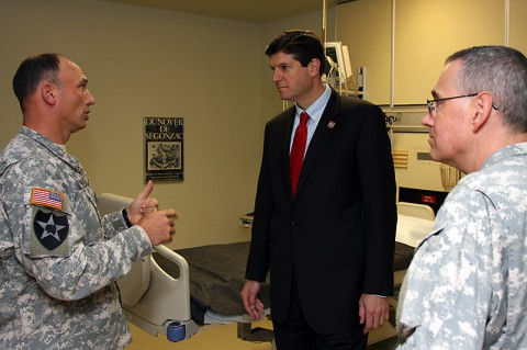 Dr. (Col.) Michael Helwig, Deputy Commander for Clinical Services, discusses training and resources with Dr. (Col.) George Appenzeller, Hospital Commander, and Dr. John Dreyzehner, Commissioner of the Tennessee Department of Health, at Blanchfield Army Community Hospital Tuesday.