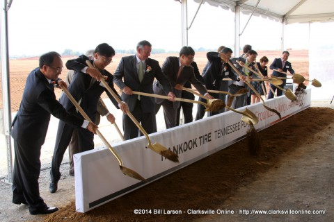 Hankook Tire executives and VIP guests break ground on the new facility