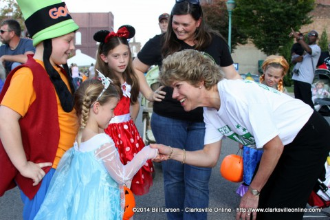 Clarksville Mayor Kim McMillan greets some young admirers during Fright on Franklin Street