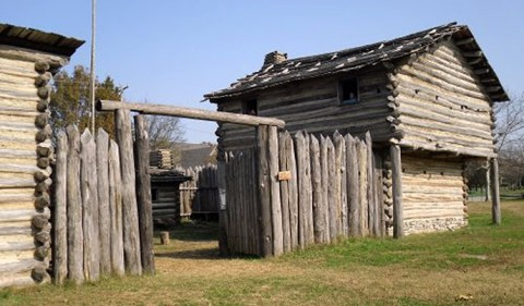 Reconstruction of a blockhouse within a stockaded frontier station, Manskers Station, Goodlettsville, TN.