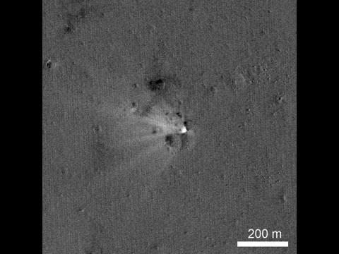 LRO has imaged the LADEE impact site on the eastern rim of Sundman V crater. The image was created by ratioing two images, one taken before the impact and another afterwards. The bright area highlights what has changed between the time of the two images, specifically the impact point and the ejecta. (NASA/Goddard/Arizona State University)