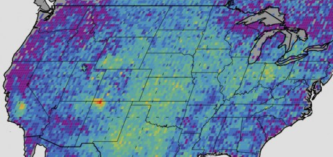 The Four Corners area (red) is the major U.S. hot spot for methane emissions in this map showing how much emissions varied from average background concentrations from 2003-2009 (dark colors are lower than average; lighter colors are higher). (NASA/JPL-Caltech/University of Michigan)