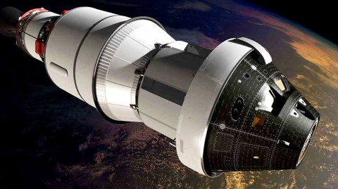 An artist's impression of the first Orion spacecraft in orbit attached to a Delta IV Upper Stage during Exploration Flight Test-1. (NASA)