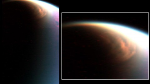 This cloud in the stratosphere over the north pole of Titan is similar to Earth's polar stratospheric clouds. (NASA/JPL/University of Arizona/LPGNantes)