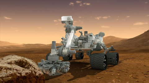 This artist's concept features NASA's Mars Science Laboratory Curiosity rover, a mobile robot for investigating Mars' past or present ability to sustain microbial life. (NASA/JPL-Caltech)