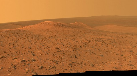 "This vista from NASA's Mars Exploration Rover Opportunity shows ""Wdowiak Ridge,"" from left foreground to center, as part of a northward look with the rover's tracks visible at right. (NASA/JPL-Caltech/Cornell Univ./Arizona State Univ)"
