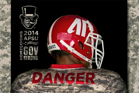Austin Peay Govs will be weaing camouflage uniforms for homecoming to honor the military for Veterans Day Weekend. (APSU Sports Information)