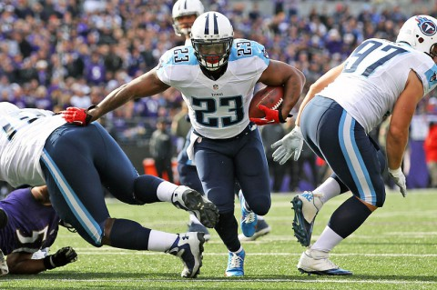 Tennessee Titans running back Shonn Greene (23) carries the ball against the Baltimore Ravens in the first half at M&T Bank Stadium on November 9th, 2014. (Mitch Stringer-USA TODAY Sports)