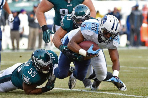 Tennessee Titans running back Bishop Sankey (20) is tackled by Philadelphia Eagles Mychal Kendricks (95) and Brandon Graham (55) at Lincoln Financial Field. (Derik Hamilton-USA TODAY Sports)
