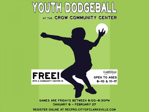 Youth Dodgeball League to be held at Crow Community Center starting January 9th, 2014.