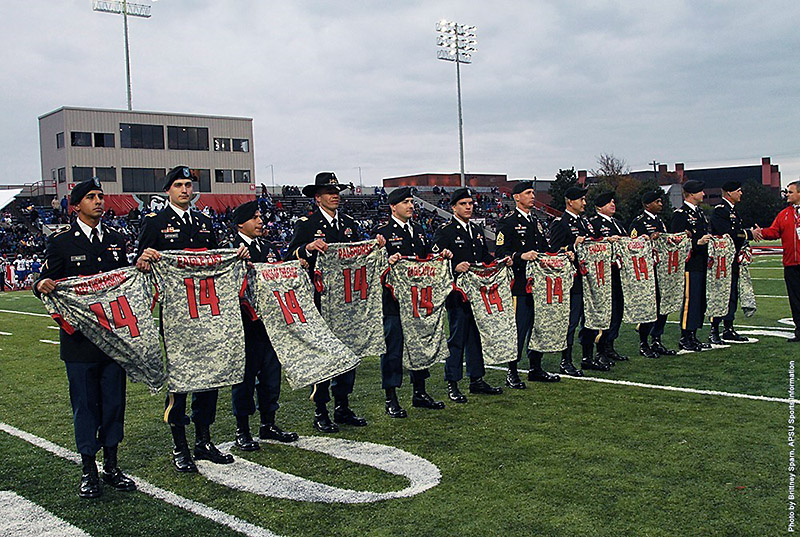 Austin Peay Camouflage Jersey auction has ended. (APSU Sports Information) 472e1c566