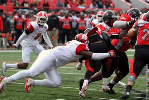 Austin Peay defensive tackle Malcolm Goines makes a first-half defensive stop against Southeast Missouri. (APSU Sports Information)
