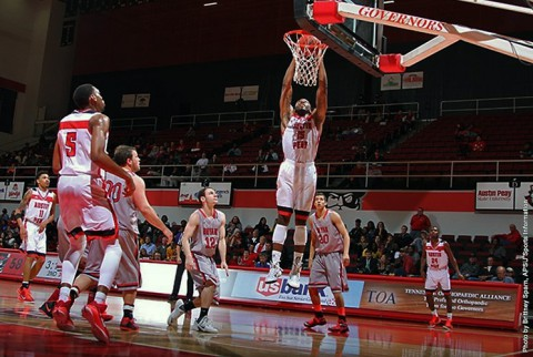 Austin Peay's Chris Freeman with a dunk against Bryan. (APSU Sports Information)