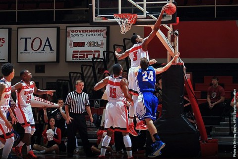 Austin Peay Basketball's Chris Horton blocked 10 shots against Berea. (APSU Sports Information)