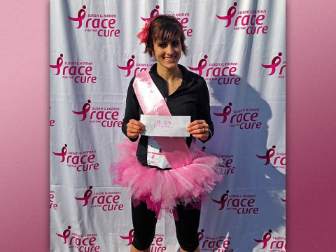 Krysta Adkins, an APSU nursing student, shows off her winning time at the Susan G. Komen 2015 Race for the Cure 5K in Brentwood.