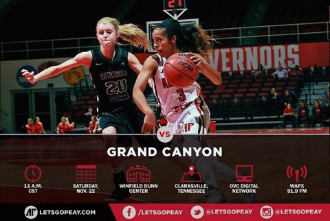 Austin Peay Women's Basketball plays early Saturday game vs. Grand Canyon at home. (APSU Sports Information)