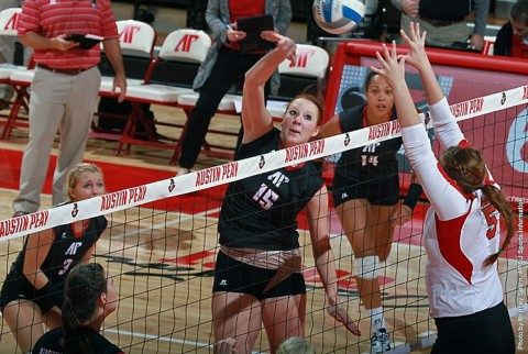 Austin Peay middle blocker Hillary Plybon led Lady Govs with 16 kills. (APSU Sports Information)