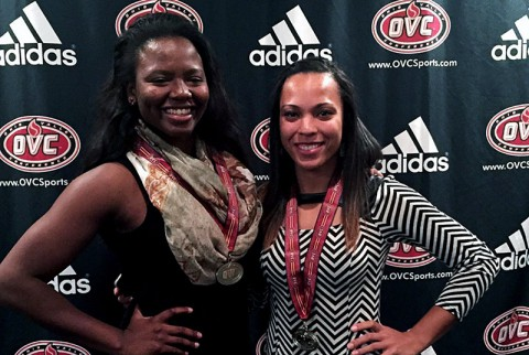 Austin Peay Lady Govs' Ashley Slay (left) and Jada Stotts (right) earn OVC Volleyball honors. (APSU Sports Information)