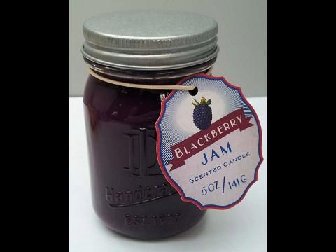 DD brand 5-ounce Mason jar candle.