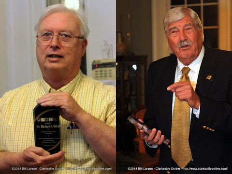 Dr. Richard Gildrie (left) and Dr. Joe Filippo (right) received Lifetime Achievement Awards Monday night.