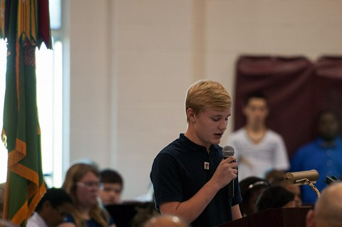 Jacob Slight, a student at West Creek Middle School in Clarksville, Tenn., speaks about the importance of the sacrifices his brother, Tim, has made to defend the nation during a a Veterans Day event Nov. 7 at West Creek Middle School. (U.S. Army photo by Sgt. Leejay Lockhart)