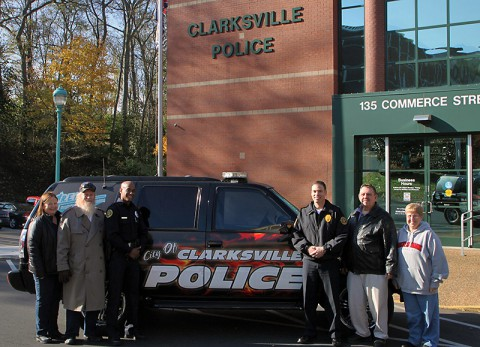 (left to right) CPAA Representative Kathy Vogt, President of the CPAA Mike Vogt, Officer Gregory Granderson, Captain Rick Stalder, CPAA Representative John Horbach, and CPAA Representative Patty Lindgren.