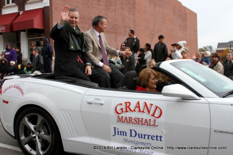 State Representative Joe Pitts and Montgomery County Mayor Jim Durrett the parade Grand Marshal ride together during the 2014 Veterans Day Parade