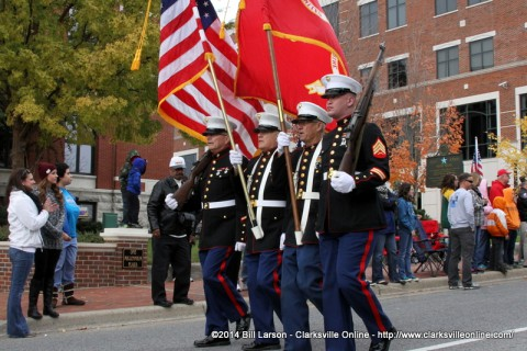 The Marine Corps League Detachment marches in the 2014 Veterans Day Parade