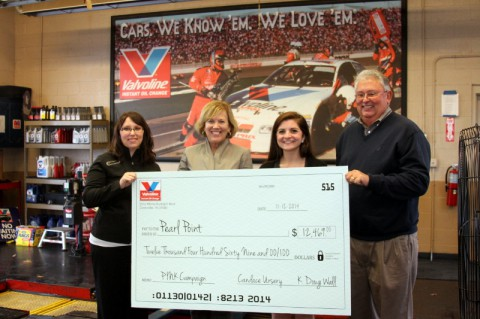 Convenient Car Care Inc. presents a check for $12,469 to Susan Hosbach of Pearl Point Cancer Support. Pictured are Candace Ursery, President of Convenient Car Care Inc., Susan Hosbach, President and CEO of Pearl Point, Ashley Charlton, Development Coordinator, and Doug Wall, owner of Convenient Car Care Inc.. (Photos by Bill Larson/Clarksville Online)