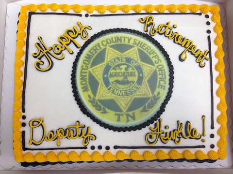 Deputy Hinkle's colleagues served him a cake in honor of his service to the Workhouse