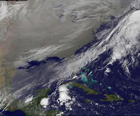 In this NOAA's GOES satellite infrared image taken on November 18th at 7:30am EST, the cold air over the central and eastern U.S. appears to look like a blanket of white, but it's not all snow. (NASA/NOAA GOES Project, Dennis Chesters)