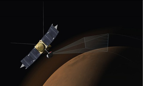 This artist's concept depicts the Imaging Ultraviolet Spectrograph (IUVS) on NASA's MAVEN spacecraft scanning the upper atmosphere of Mars. IUVS uses limb scans to map the chemical makeup and vertical structure across Mars' upper atmosphere. (NASA/Univ. of Colorado)
