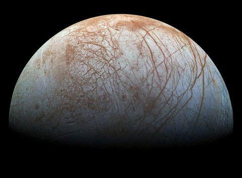 The puzzling, fascinating surface of Jupiter's icy moon Europa looms large in this newly-reprocessed color view, made from images taken by NASA's Galileo spacecraft in the late 1990s. (NASA/JPL-Caltech/SETI Institute)