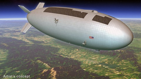 Artist's concept for a high-altitude, long-duration airship that could be used as a research platform or for commercial purposes. (Mike Hughes (Eagre Interactive)/Keck Institute for Space Studies)