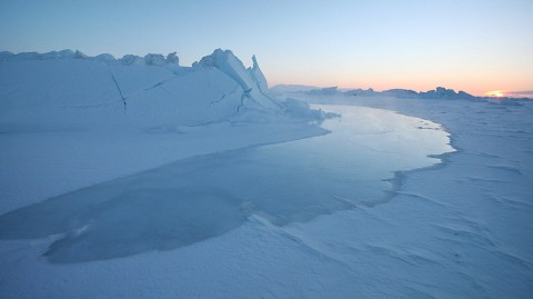 The tide coming in over ice in Greenland. (National Snow and Ice Data Center/Andy Mahoney)
