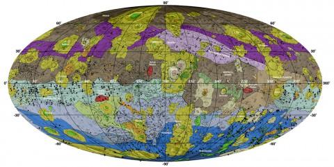 This high-resolution geological map of Vesta is derived from Dawn spacecraft data. (NASA/JPL-Caltech/ASU)