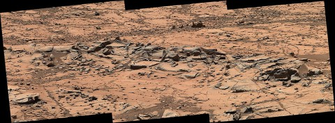 This small ridge, about 3 feet (1 meter) long, appears to resist wind erosion more than the flatter plates around it. (NASA/JPL-Caltech/MSSS)