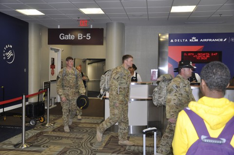 Soldiers from Tennessee's 1/230th Air Cavalry Squadron arrive home at the Nashville International Airport yesterday after serving for nearly 10 months in Afghanistan.