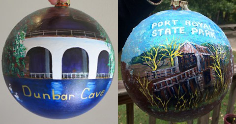 Judy Morgan's Dunbar Cave ornament (left) and Lynne Griffey's Port Royal ornament (right).